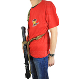 Стрелковое положение, ремень ослаблен и не мешает вскидывать оружие